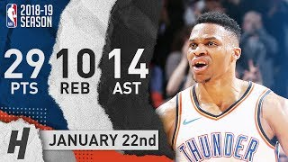Russell Westbrook EPIC Triple-Double Highlights vs Blazers 2019.01.22 - 29 Pts, 14 Ast, 10 Rebounds!