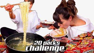 EATING 20 PACKS OF RAMEN CHALLENGE 먹방 MUKBANG (RELAXING)