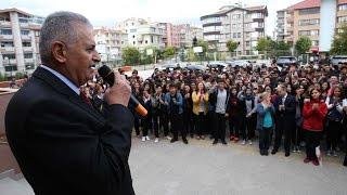 Başbakan Yıldırım Çankaya Sancak Anadolu lisesinde öğrencilere hitap etti