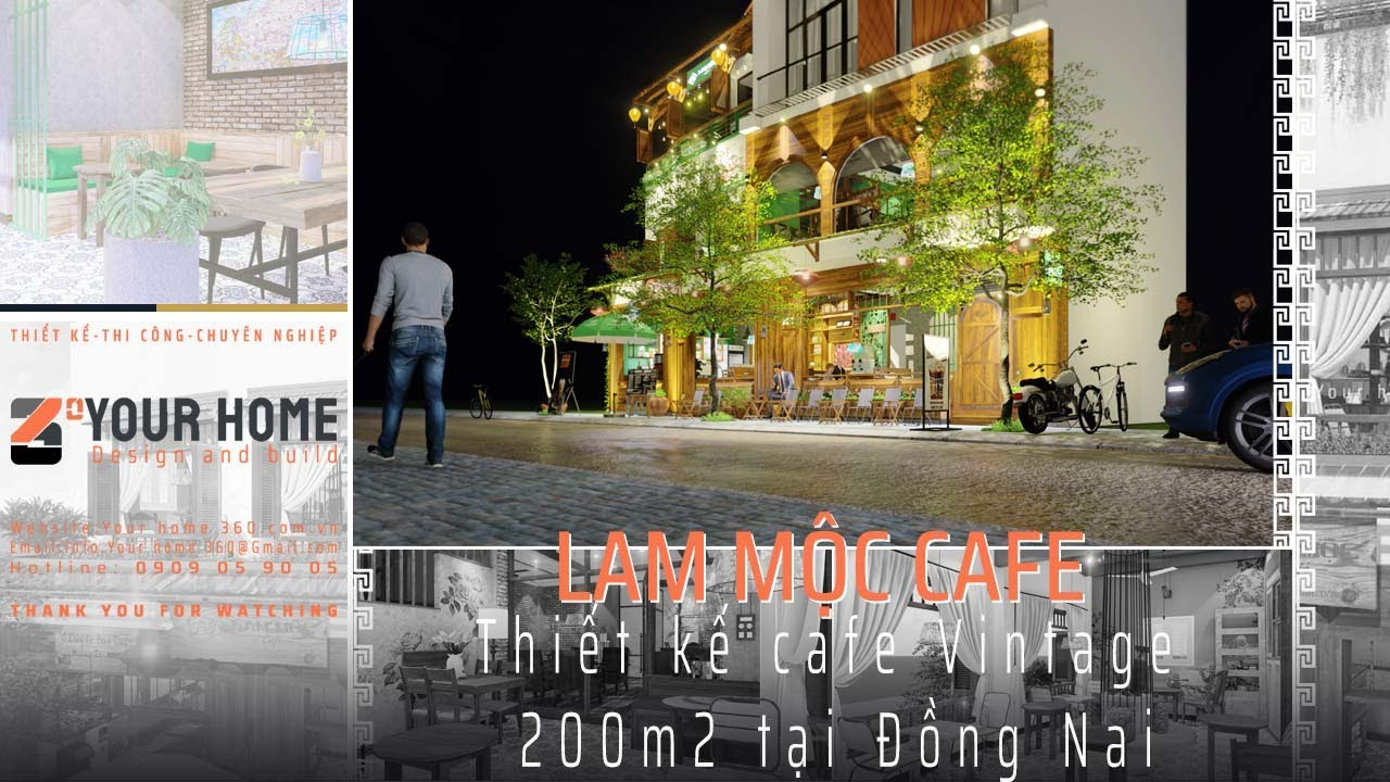 THIẾT KẾ QUÁN LAM MỘC CAFE ĐẸP TẠI LONG KHÁNH ĐỒNG NAI 250m2