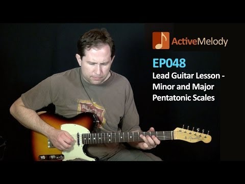 Part 2 of 2 -- Lead Guitar Lesson (Tutorial) Major and Minor Pentatonic Scales -- Jam in D -- EP048