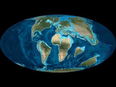 Карта движения материков древней Земли. Мезозой и Кайнозой