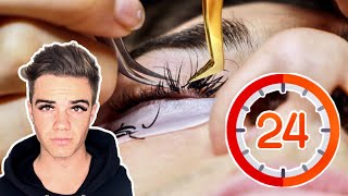 Guy VS Eyelash Extensions For 24 HOURS!