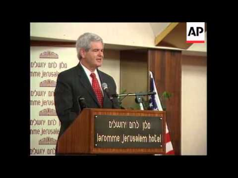 ISRAEL: JERUSALEM: US HOUSE SPEAKER NEWT GINGRICH VISIT (2)