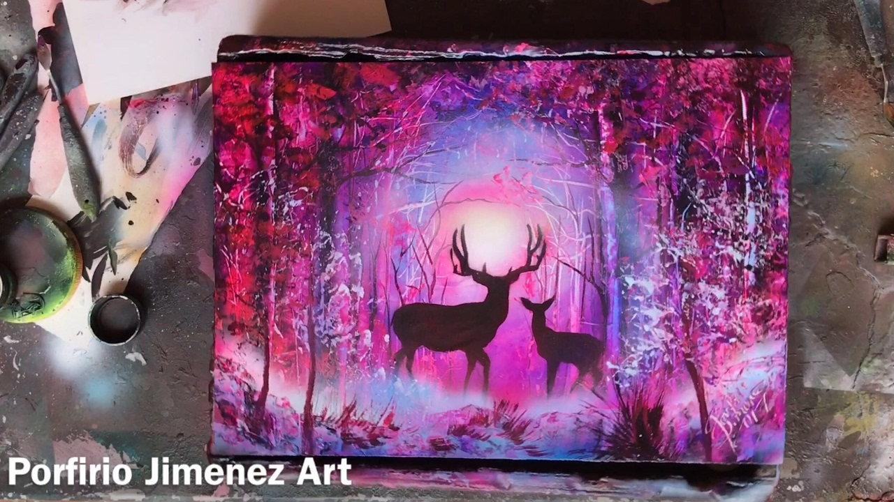 Deer In The Forest Spray Paint Art Youtube