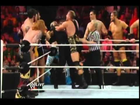 wwe raw 4 14 2014 the shield vs 11 superstar and triple h, r