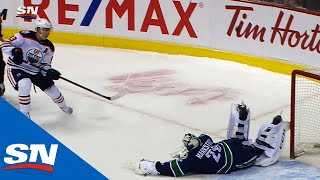 Jacob Markstrom Makes Scorpion Save On Ryan Nugent-Hopkins In Shootout