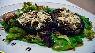 Spring Mix + Spinach Stuffed Portobello Mushrooms   Vegan