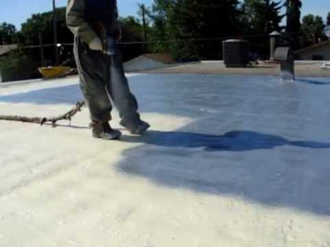 Roofing: Aluminum Polymer Coating Is Applied Over Spray Foam Insulation