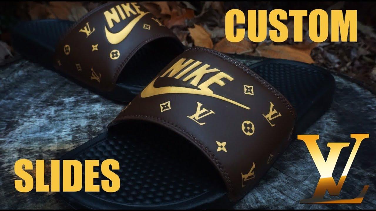 premium selection 90198 5db83 Custom Louis Vuitton Nike Slides! - Jordan Vincent