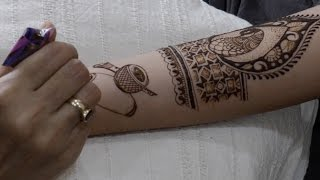 how to draw front peacock and musical instrument in mehendi : bridal mehendi episode 21