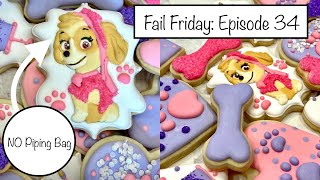 How to Decorate Paw Patrol Skye Cookies with and WITHOUT a Piping Bag  Fail Friday: Episode 34