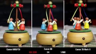 Canon 600D/T3i vs 6D vs 7D Mark2 ISO Comparison Test Video(In this video I compare the ISO ability of the Canon 600D/T3i, 6D and 7D Mark2., 2016-02-21T23:05:12.000Z)