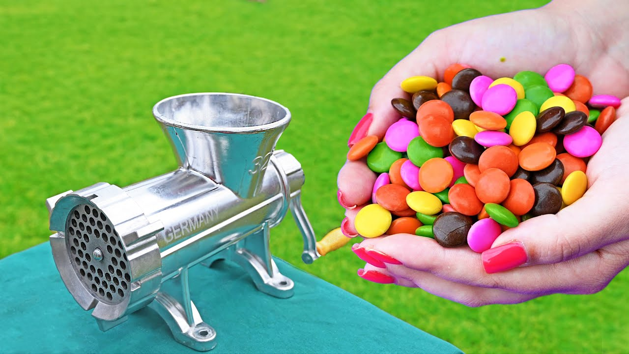 EXPERIMENT COLORFUL CANDY VS MEAT GRINDER