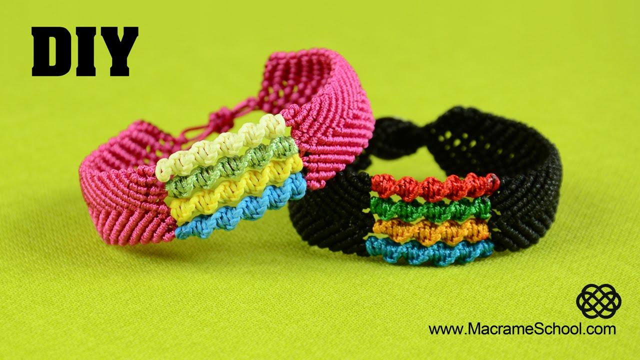 DIY Chevron Bracelet with Spiral Stripes - Macramé Tutorial - YouTube 259676c4eb6