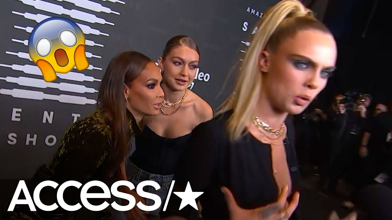 Gigi Hadid and Joan Smalls Scare A Terrified Cara Delevingne At Rihanna's Savage X Fenty NYFW Show