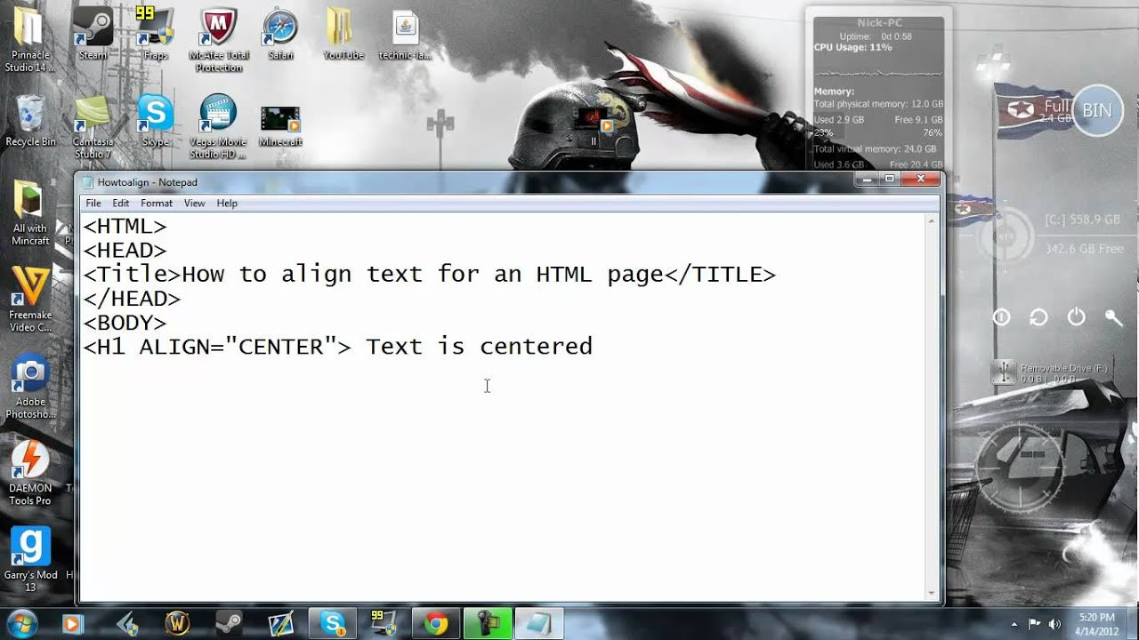 How to align HTML text - YouTube
