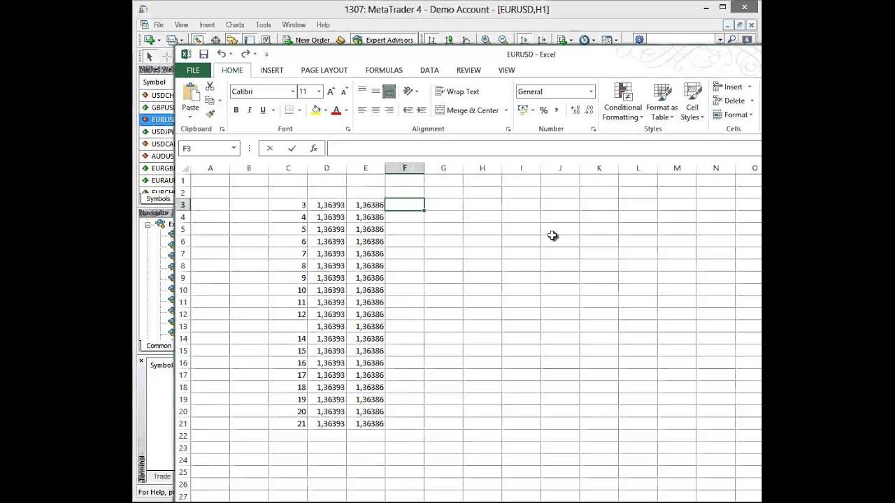 Fx1 Excellink Api Between Excel And Tradestation Metatrader