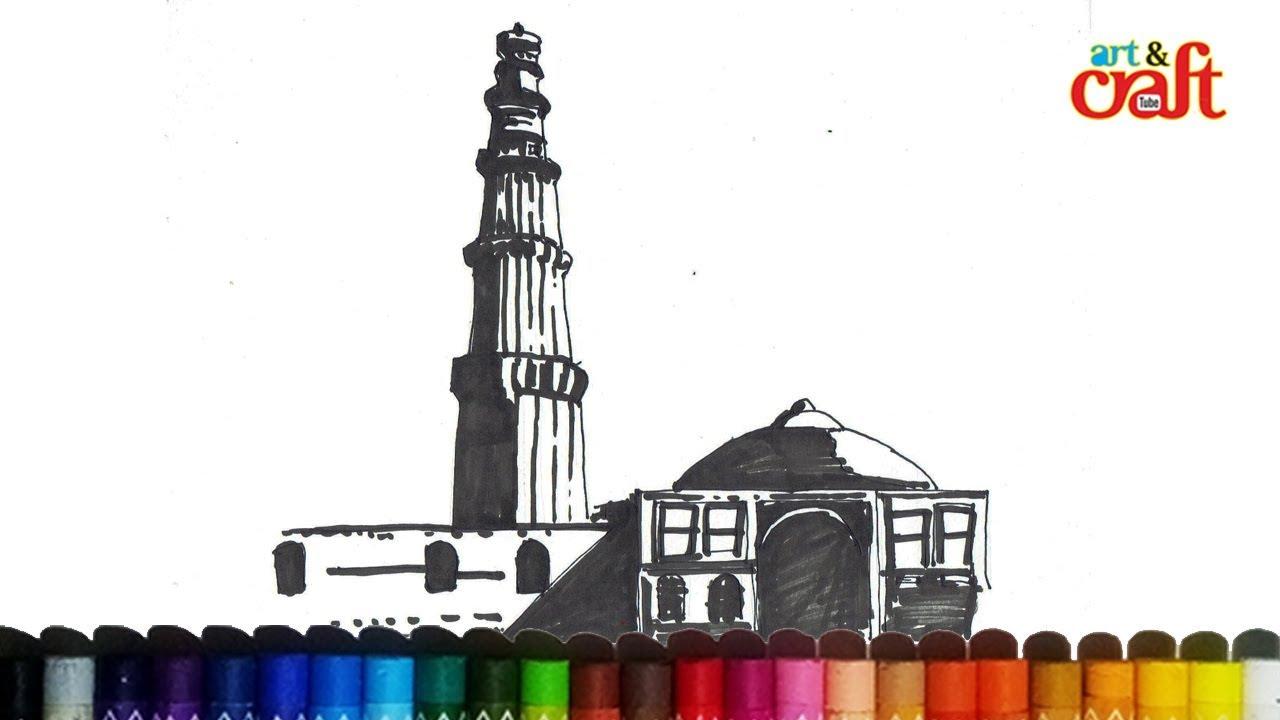 Qutub minar new delhi india drawing क़ुतुब मीनार नई दिल्