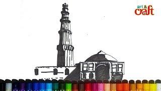 Qutub Minar - New Delhi, India drawing # क़ुतुब मीनार नई दिल्ली चित्र