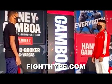 Devin Haney and Yuriorkis Gamboa meet face to face at the final press conference