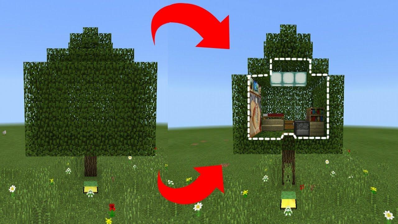HƯỚNG DẪN TẠO RA CĂN NHÀ ĐƯỢC GIẤU TRÊN CÂY VỚI LỐI VÀO BÍ MẬT TRONG MCPE | Minecraft PE 1.2