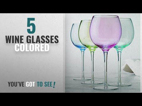 Best Wine Glasses Colored [2018]: Elegant home set of 4 pastel colored wine glasses
