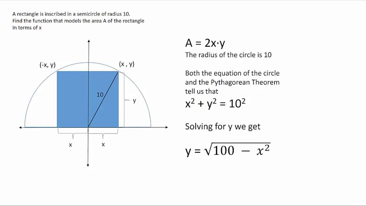Area Of Rectangle Inscribed In A Semicircle In Terms Of X