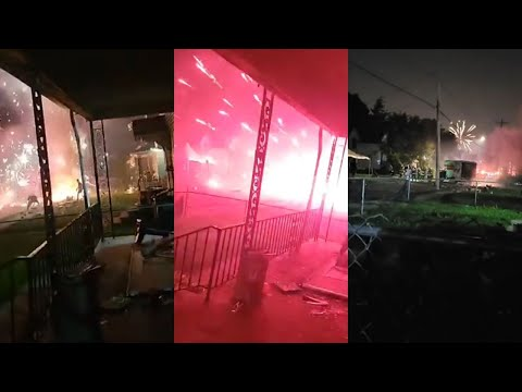Raw Video: Fireworks Explode in NW Ohio Neighborhood After Fire on U-Haul Truck