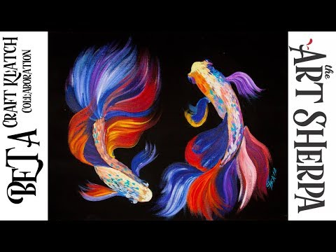 How To Paint Beta Fish In Acrylic Craft Klatch Collab | TheArtSherpa