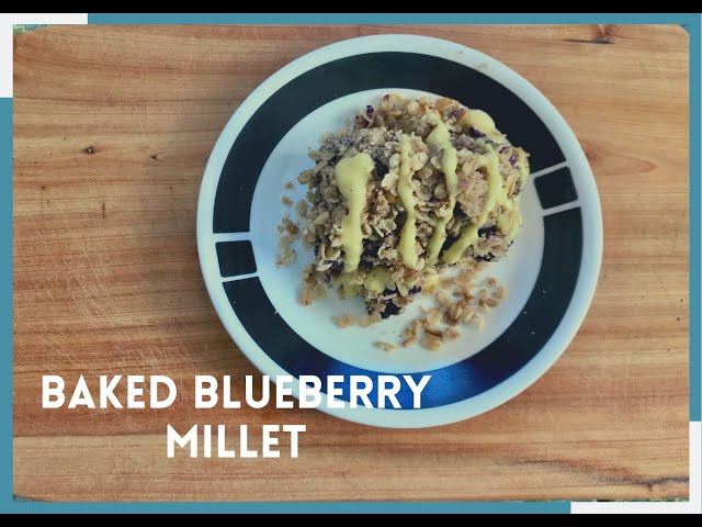 Baked Blueberry Millet with Peach Cream