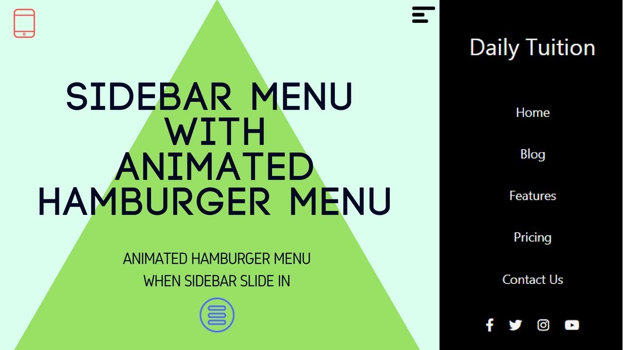 Responsive Sidebar Navigation Menu Using HTML, CSS and JavaScript