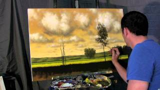 A Gold Balance - Time Lapse Speed landscape cloud painting by Tim Gagnon, trees and fields...