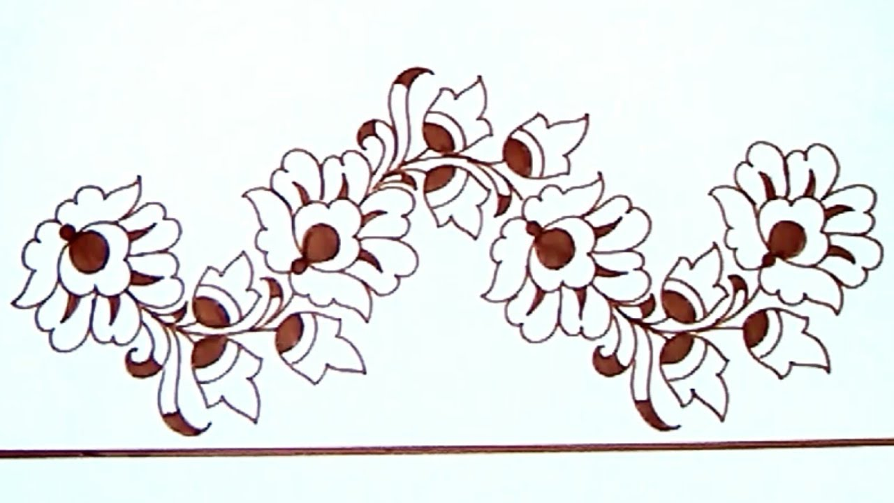 Saree Border Projects For Embroidery Designs Drawing. Pencil Sketch For Hand Embroidery ...