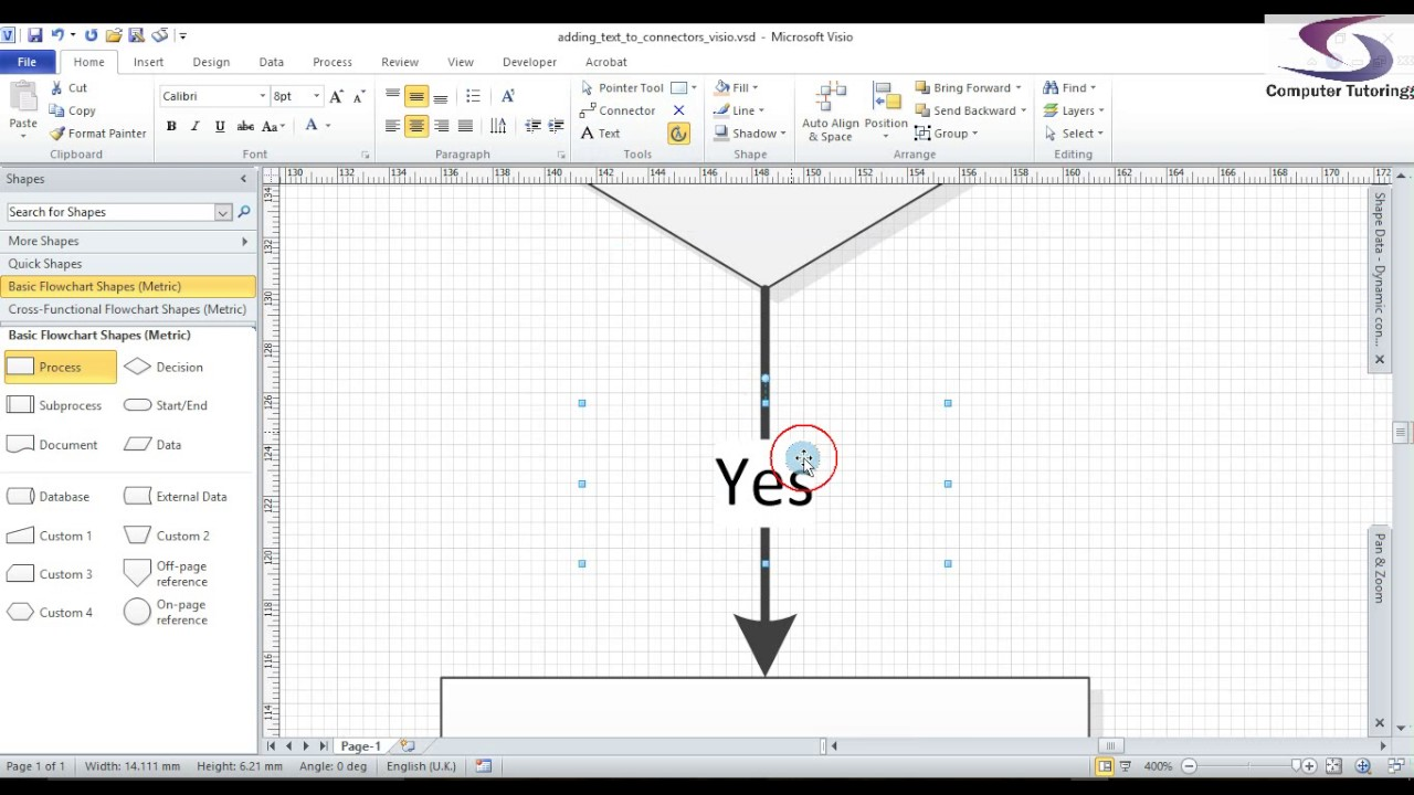 Drawing Lines With Arrows In Visio : Visio move connector text youtube