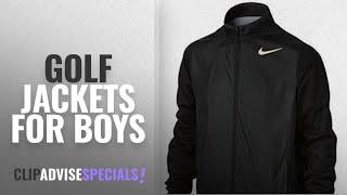 Top 10 Golf Jackets For Boys [2018]: Nike Boys' Full-Zip Shield Jackets, Black, Medium