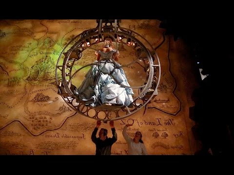 Glinda is hoisted to the rafters for the start of 'Wicked'