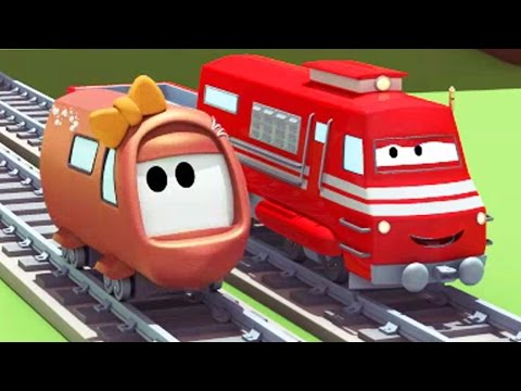 Troy the Train and the little Train's Accident in Train Town 🚆🚂 Trains & Trucks cartoon for Kids