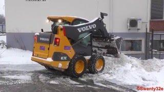 Volvo M70C Skid-Steer Loader Clearing & Piling Snow