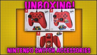 UNBOXING! Nintendo Super Mario Odyssey Switch Accessories  - PowerA Controllers and Grip
