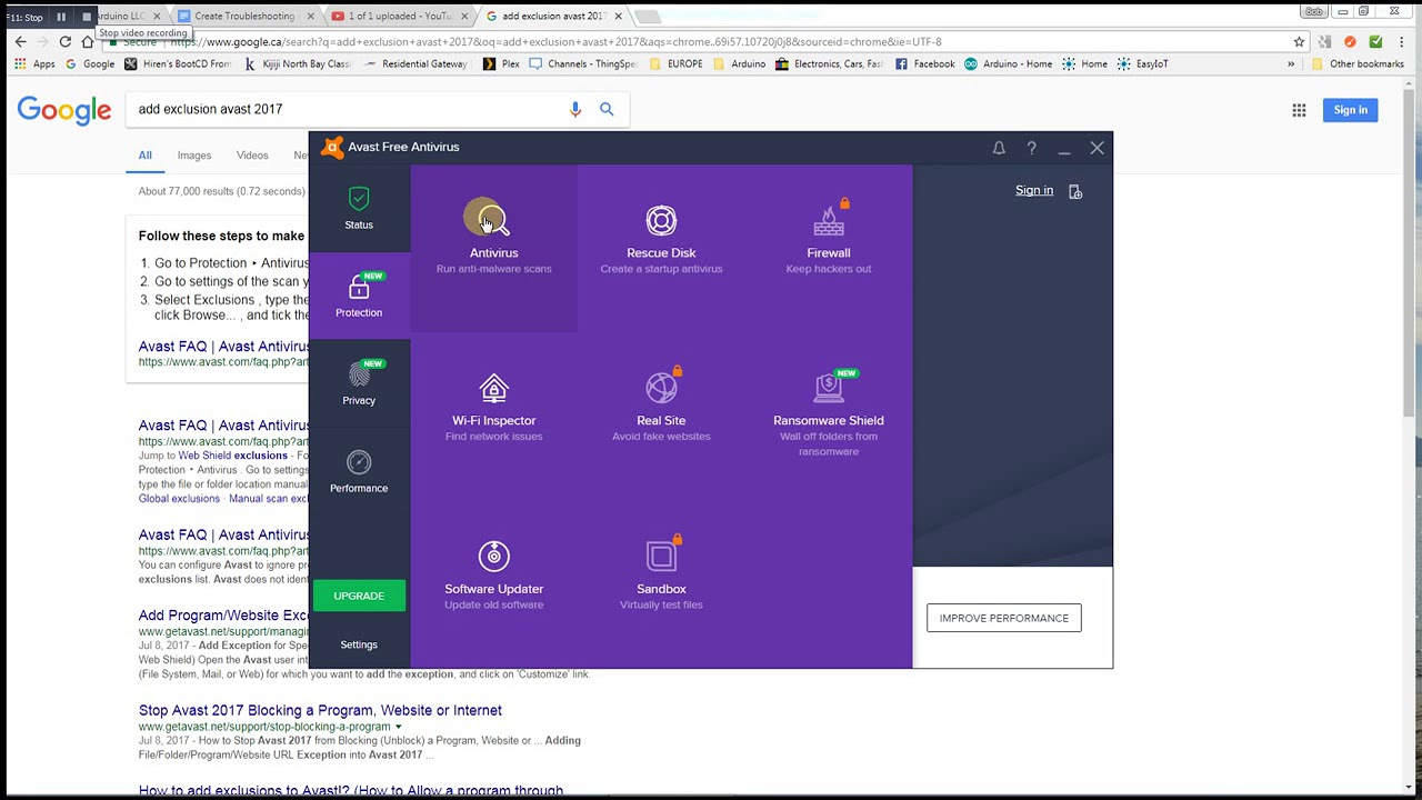 avast program exception