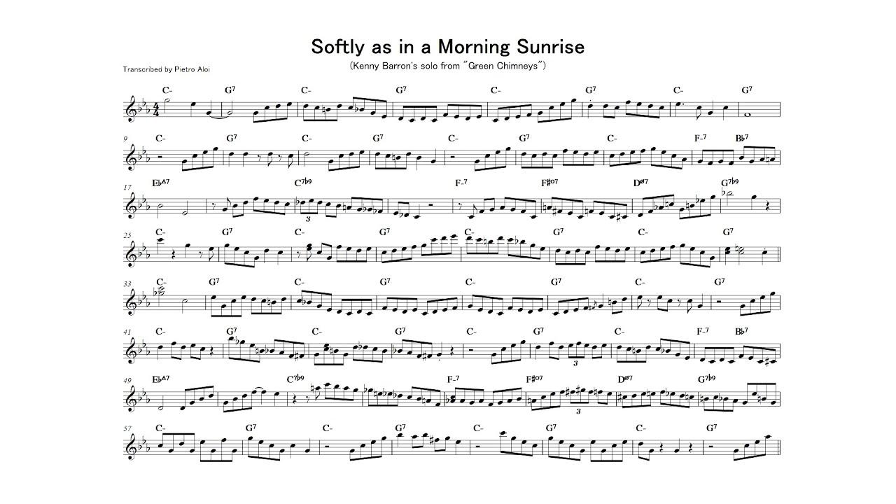 Softly as in a Morning Sunrise - Kenny Barron transcription