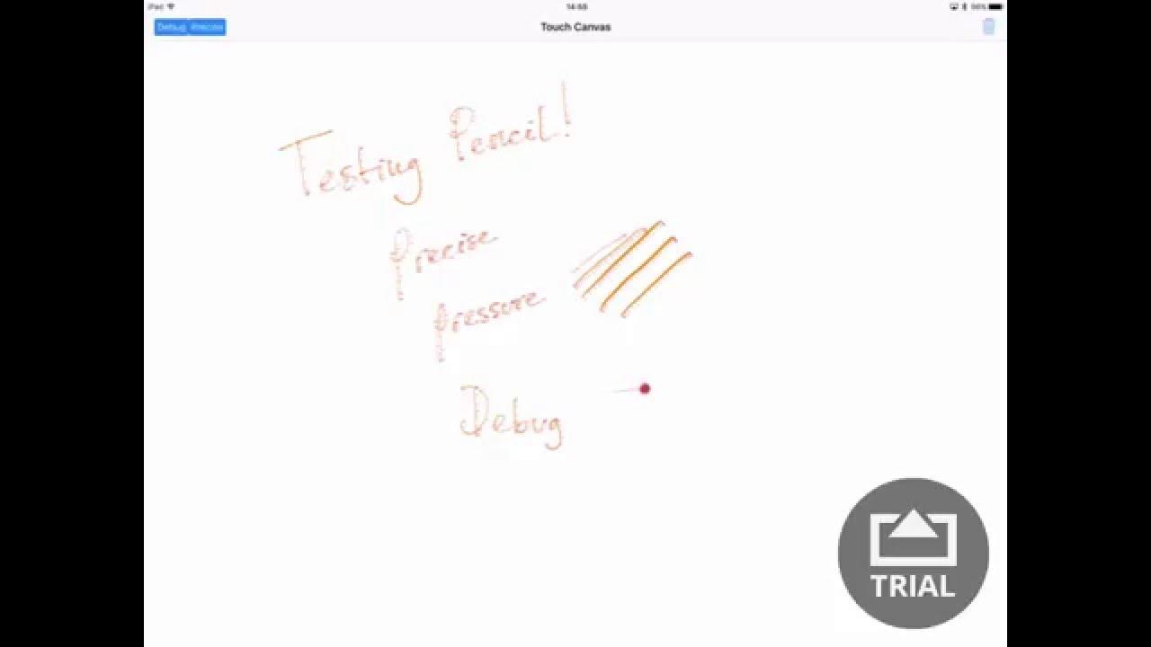 Apple Pencil TouchCanvas sample code on Apple iPad Pro