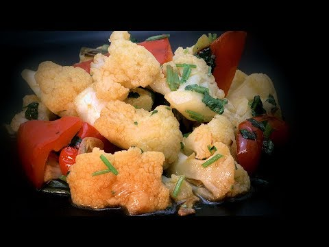 Stir-Fry Cauliflower & Red Pepper (Chinese Spicy Vegetable Recipe)