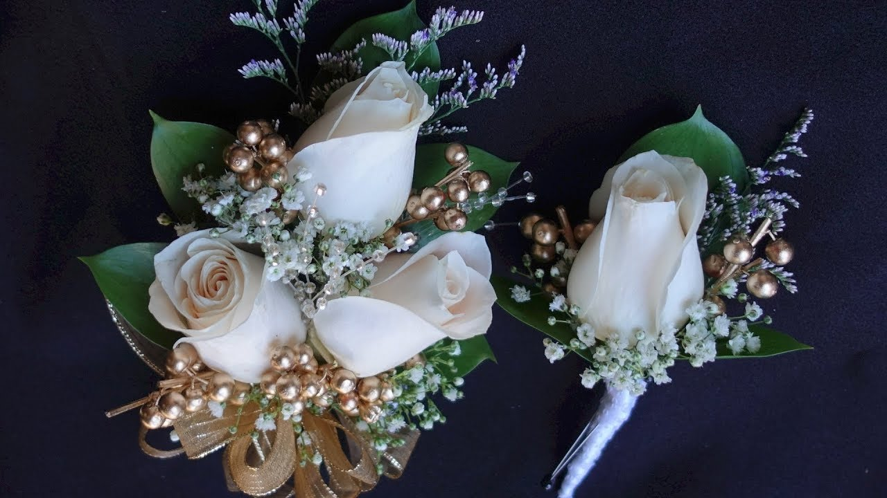 How to make corsage and boutonniere set for prom or wedding - YouTube