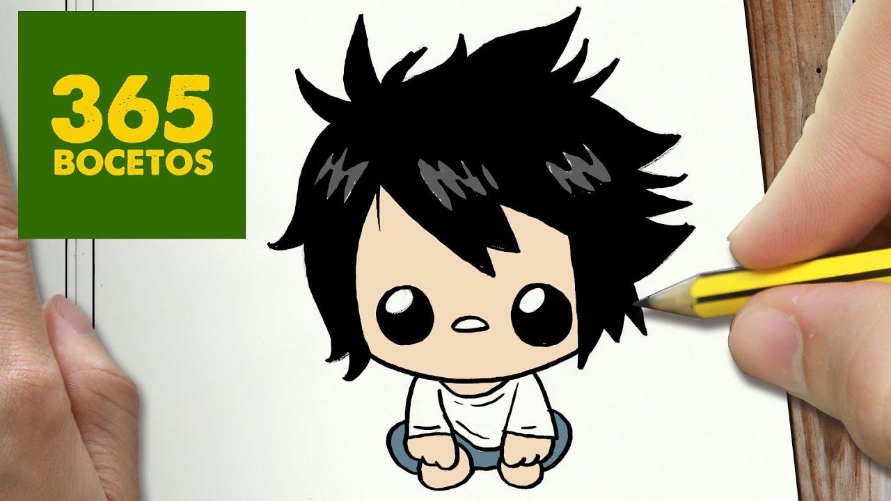 Como Dibujar L Death Note Kawaii Paso A Paso Dibujos Kawaii