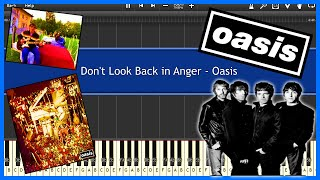 Don't Look Back in Anger - Oasis (Synthesia) [Tutorial] [Instrumental Video] [Download]