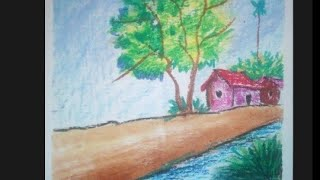 How to draw  landscape with oil pastel drawing for beginners step by step