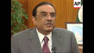 WRAP AP exclusive interview with President Asif Ali Zardari