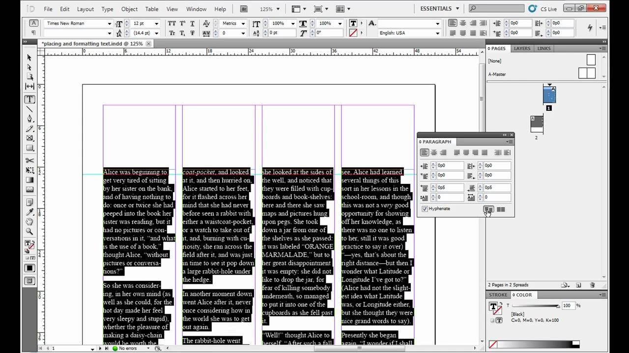 Placing and Formatting Text in Adobe InDesign - YouTube